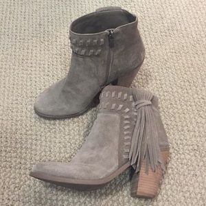 JESSICA SIMPSON Tan Chassie Tassel Boots for sale
